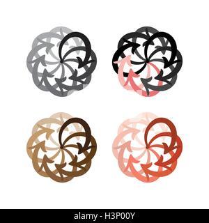Vector set flèches colorées diagramme cercle sur fond blanc Banque D'Images
