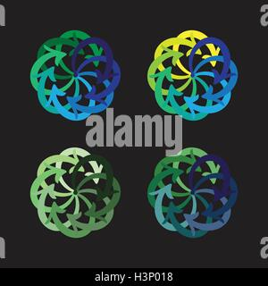 Vector set flèches colorées diagramme cercle sur fond noir Banque D'Images