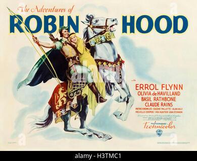 Les aventures de Robin des bois 1938 Warner Bros film avec Errol Flynn et Olivia de Havilland Banque D'Images