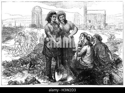 Les femmes, filles Front Pit mine workers à Wigan. La Loi sur les Mines de 1842 interdit l'emploi des femmes et Banque D'Images