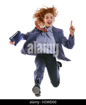 Jeune femme, exécuter, red-haired, poursuite, le geste, les concepts de l'organiseur personnel, femme d'affaires, Banque D'Images