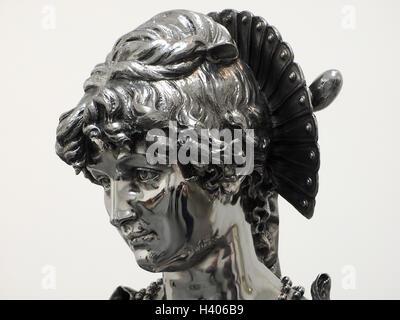 Détail de Jeff Koons' en acier inoxydable travail statuaire italienne avec des surfaces courbes réfléchissantes Banque D'Images
