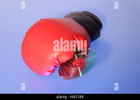 Gant de boxe, rouge, CD, cuir Gant Gant, ball, sport, loisirs, hobby, haut-parleurs, boxe, boxe, icône, souffler, Banque D'Images