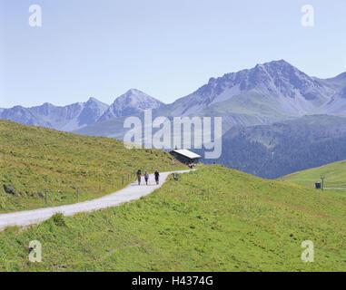La Suisse, l'Arosa, paysage de montagne, Arlenwaldweg, Wanderer, Graubuenden, montagnes, ALP, chalet de montagne, Banque D'Images