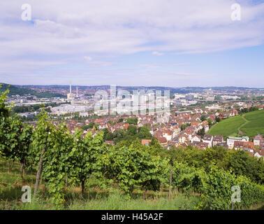 Allemagne, Bade-Wurtemberg, Stuttgart-Untertürkheim, vignoble, vue sur ville, Stuttgart, ville, autotown, ville Banque D'Images