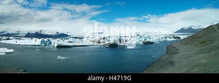 Panorama de la lagune jokulsarlon Islande iceberg lake Banque D'Images
