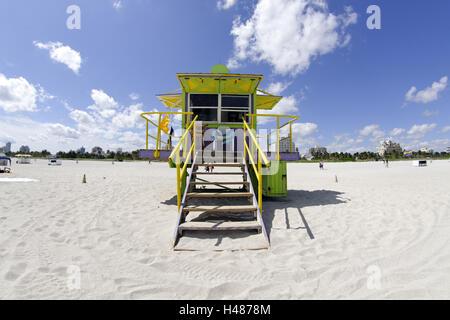 Beach lifeguard tower ST', '12 dans un style Art Déco, l'océan Atlantique, Miami South Beach, quartier Art déco, Banque D'Images