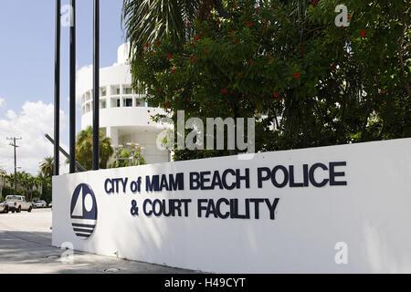 Tribunal de police de Miami Beach, Washington Avenue, Miami South Beach, quartier Art déco, Florida, USA, Banque D'Images