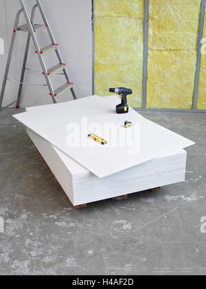 Site de construction, construction, shell, palette de gypse fibreux, installer, Banque D'Images