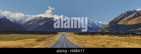 Aoraki Mount Cook, Road, Mount Cook National Park, Canterbury, île du Sud, Nouvelle-Zélande Banque D'Images