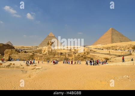 Grand Sphinx de Gizeh, pyramides de Gizeh, Le Caire, Egypte, Moyen-Orient, Afrique du Nord, Afrique Banque D'Images