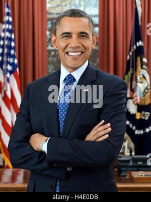 Barack Obama. Portrait officiel de la Maison Blanche de Barack Obama, le 4e président des Etats-Unis, Décembre 2012 Banque D'Images