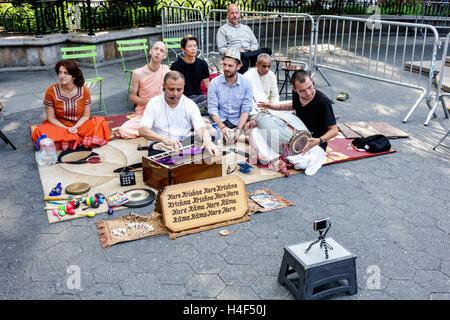New York, NY, NYC, New York City, Manhattan, Stuyvesant Square, parc public, Hare Krishna, religion, culte, asiatique asiatique ethnie ethnie immig immigrants