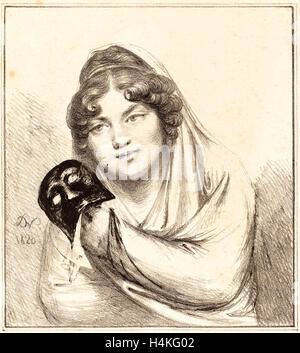 Le Baron Dominique Vivant Denon, français (1747-1825), fille avec un masque, lithographie, 1820 Banque D'Images
