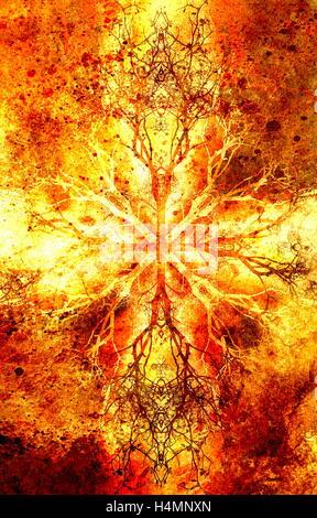 Belle mandala avec motif ornemental de l'arbre, symbole de vie. Banque D'Images