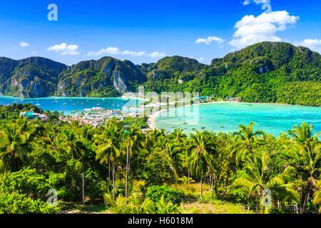La Thaïlande, l'île de Phi Phi Don, province de Krabi. Banque D'Images