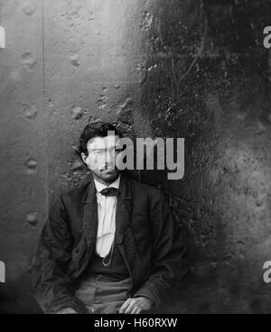 Samuel Arnold, conspirateur en Assassinat du président américain Abraham Lincoln, assis, Washington Navy Yard, Washington Banque D'Images