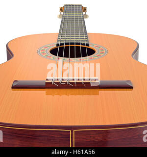 Guitare acoustique en bois du pont, fermer Banque D'Images