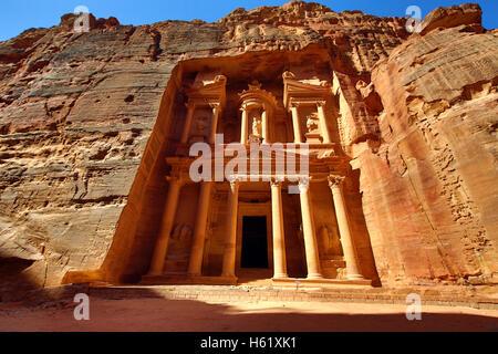 Vue de la trésorerie, Al-Khazneh, Petra, Jordanie Banque D'Images