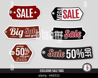 Vecteur exclusif Vente tags, étiquettes Banque D'Images