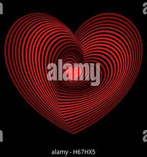 Rouge petit coeur dans le lot des cœurs concentriques sur le fond noir, les images vectorielles Banque D'Images