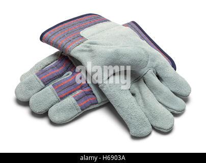 Paire de gants de travail en cuir gris isolé sur fond blanc. Banque D'Images