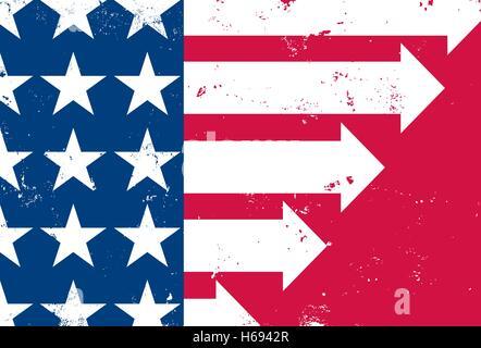 Nord de l'avant un drapeau américain en difficulté avec les bandes blanches comme des flèches pour montrer la croissance Banque D'Images