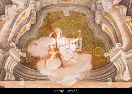 BRESCIA, ITALIE - 21 MAI 2016: la fresque de vertu cardinale de la foi dans Chiesa di Santa Maria della Carita Banque D'Images
