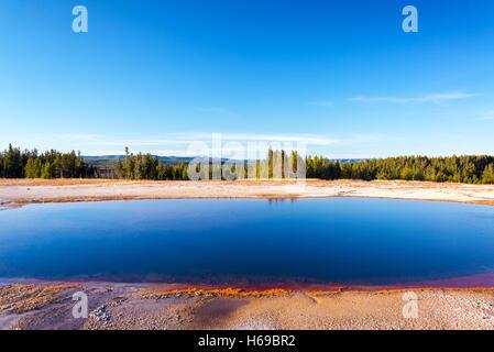 Grand Prismatic Spring vue paysage dans le Parc National de Yellowstone Banque D'Images