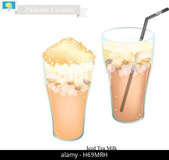 Cuisine traditionnelle, palaosiennes Ice Tea servi avec du lait. L'un des plus populaires verre dans Palaos. Banque D'Images