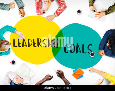 Objectifs Leadership Motivation Idées Concept cercles Banque D'Images