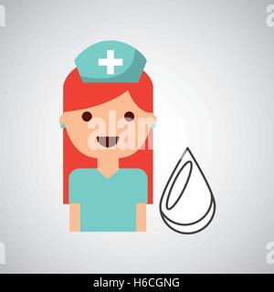 La conception du don de sang caractère infirmière Banque D'Images