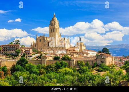 Segovia, Espagne. Cathédrale de Santa Maria de Segovia, Castilla y Leon. Banque D'Images