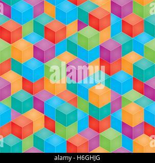Pile de blocs colorés en perspective isométrique de bébé. Vector pattern. transparente Multicolore 3D'arrière-plan. Banque D'Images