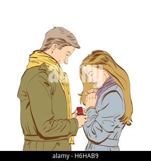 Petit ami qui demande la main de sa petite amie avec un ri d'engagement Banque D'Images