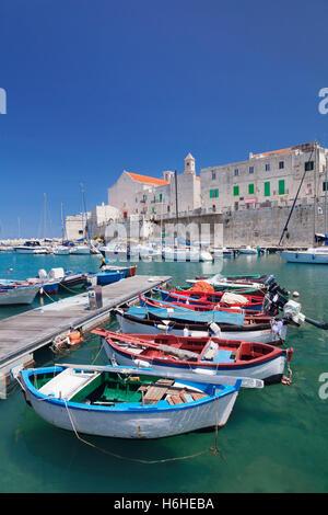 Port avec centre historique et la cathédrale, Giovinazzo, Province de Bari, Pouilles, Italie Banque D'Images