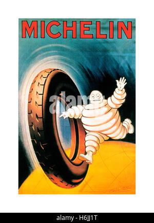 Vintage poster MICHELIN 1900 pour les pneus Michelin avec Bibendum Bibendum '' lancé avec pneu de voiture en pointant Banque D'Images