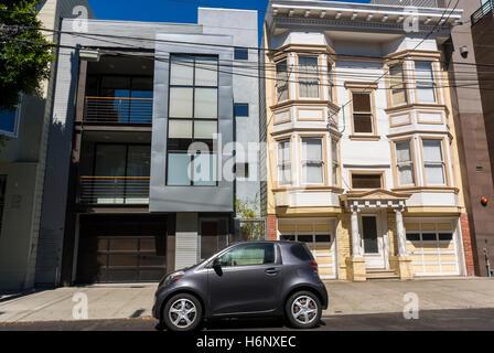San Francisco, CA, USA, scènes de rue, l'architecture victorienne, des maisons en rangée dans Mission District, Banque D'Images
