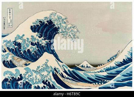 """""""La grande vague de Kanagawa' wood block print par Katsushika Hokusai (1760-1849) Un artiste japonais de la période Banque D'Images"""