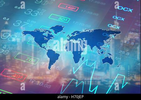 Économie mondiale, financières, boursières, global business concept arrière-plan. Les données boursières et tableau Banque D'Images