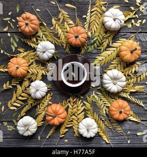 Les citrouilles, les feuilles d'automne et tasse de café Banque D'Images