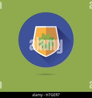 Bouclier de protection avec cog modèle plat long shadow icône vecteur Banque D'Images