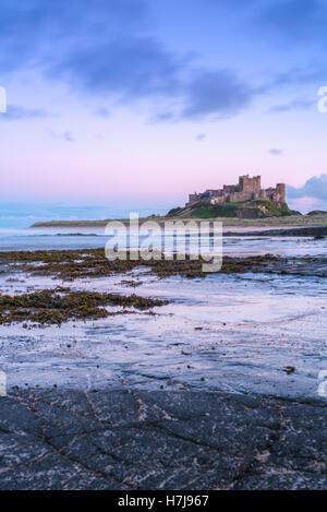 Coucher de soleil sur le château de Bamburgh sur la côte de Northumberland, dans le nord-est de l'Angleterre, Royaume Banque D'Images
