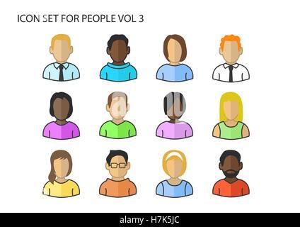 Diverses icônes vectorielles / symboles de divers chefs d'avatar et visages de différentes couleurs de peau Banque D'Images