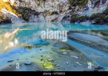 Étang dans le pays des merveilles colorées de la Wai-o-tapu, zone géothermique près de Rotorua, Nouvelle-Zélande Banque D'Images