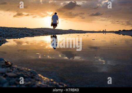 Coucher du soleil sur la plage de Bowman - Sanibel Island, Floride Banque D'Images
