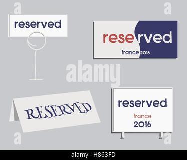 Réservation signe. France Football 2016 design. Les couleurs nationales de la France. Isolé sur fond lumineux. Vector Banque D'Images