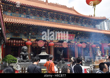 Façade du Temple Wong Tai Sin à Hong Kong, Chine Banque D'Images