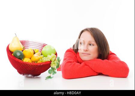 Femme avec des fruits Banque D'Images