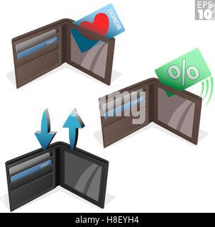 Porte-monnaie en cuir avec des cartes de crédit, de débit et cartes de donneurs d'organes Banque D'Images